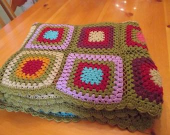 "Vintage Colorful Multi Color Granny Square Afghan  Blanket  Sage Green Background Openwork  58"" W x 72"" L in  VGC"