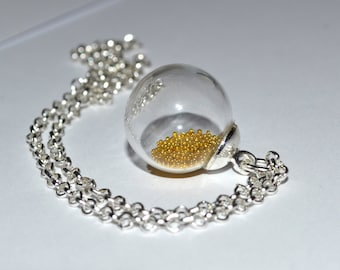 Glass Ball Necklace, Clear Glass Orb, Bottle Necklace, Round Glass Pendant, Glass Globe Necklace, Silver and Gold, Snow Globe Necklace