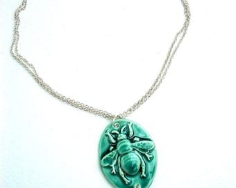 Handmade Ceramic Bee Necklace in Green