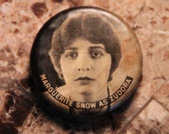 Antique 1914 Whitehead & Hoag Pin Back of Marguerite Snow as Zudora