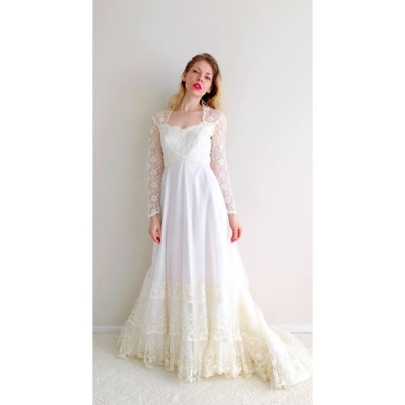 Vintage Hochzeitskleid weiße schiere bestickte Spitze lange