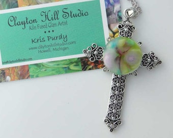 Cross PenDot Necklace - fused glass