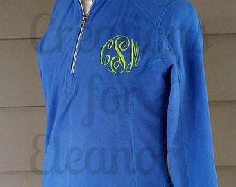 Womens Monogrammed 1/4 Zip Fleece Coat, Monogrammed Pullover, Monogrammed 1/2 Zip, Monogrammed Fleece Coat, Fleece Pullover, Half Zip