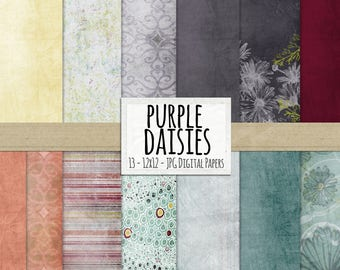 Digital Papers, Purple & Blue Floral Backgrounds, Down with Daisies,  Scrapbooking, Card Making, Stripes, Dots Pattern