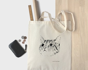 Cotton Tote Bag Cat Bag Kitten Shopping Bag Cat Tote Bag Kitty Cat Bag Cat Face Cat Lover 100% Natural Bag Market Bag