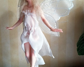 Fairy OOAK Hand Sculpted Classic Style Art Doll with White Wings and Dress Collectible