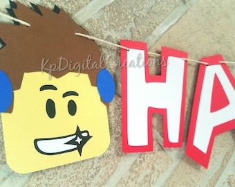 Roblox birthday banner, Roblox party banner, Roblox party supplies, Roblox happy birthday banner, Roblox birthday, Roblox, Minecraft