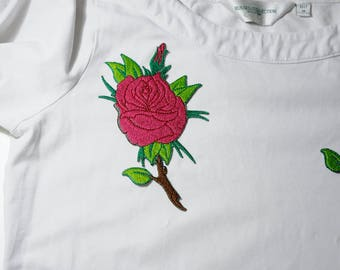 Iron on Embroidered Rose Patch, Pink Rose Iron on Patch, Iron on Embroidered Rose Applique, Pink Rose Iron on Patch,  FREE SHIPPING