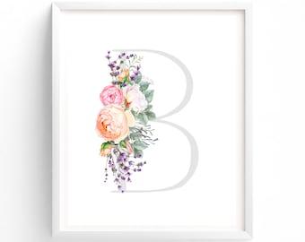 Letter B, Floral Nursery Wall Art, Nursery Prints, Printable Letter Monogram, Floral, Flower Lettering, Nursery Art, Baby monogram