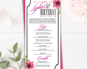 Table Menu Card, 4x9 Wedding Menu, Birthday Menu Card, Custom Wedding Menu, Printable Custom Menu, Happy Birthday, Menu, Wedding Menu