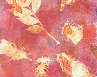 feather leaf pink print