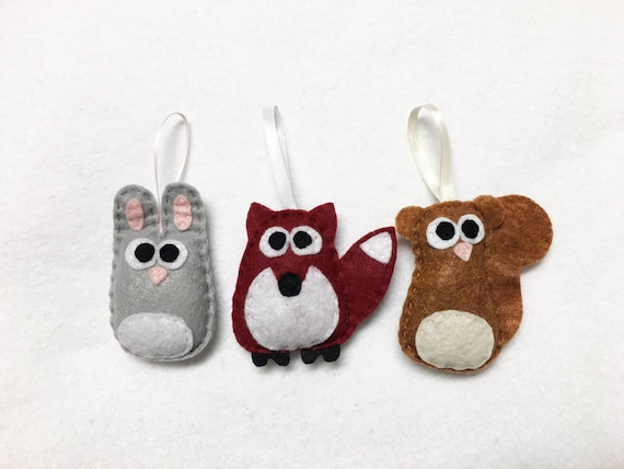 Baby Animal Ornaments, Squirrel, Fox, Rabbit - Set of Three Ornaments, Birthday Favors, Rustic Decoration, Christmas Ornament