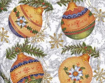 "Decoupage Christmas Paper Napkins Christmas Ornaments, Christmas Balls 33x33 cm. 13""x13"" set of 6 pcs Napkins"