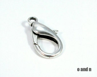 Lobster clasp, antique silver, 15mm - 6 pieces