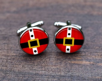 Santa Claus Snowman Christmas Tree Present Father-of-the-bride-Cufflinks, Custom mens wedding-cufflinks, Gifts for father Dad Uncle gifts