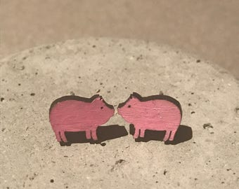 Hand painted wooden earrings- pig, piglet, unique gift, gift for her, cute, unique