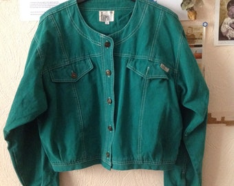 70s Green Denim Jacket Women Canvas Jean Medium Large