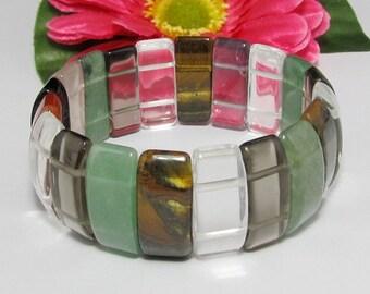 stretchy Bracelet IN Multi color Gemstone