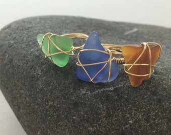 Gold Wire-Wrapped Beach Glass Ring