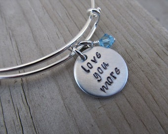 "Inspiration Bracelet- Hand-Stamped ""love you more""- Bracelet with an accent bead in your choice of colors"