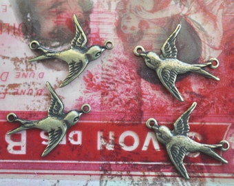 TWO SETS of Sparrow jewelry Connectors, Left and Right, brass stampings, Brass Ox, bird jewelry