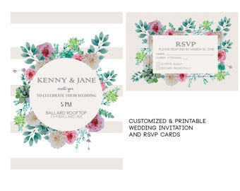 Beige Floral Wedding Invitation | Personalized and Printable | Summer Wedding