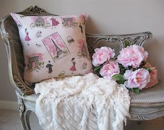 Paris French Pink Pillow Cover - French Pillow - Pink Pillow -  Eiffel Tower Pillow - Pink Nursery Pillow - Girl Bedroom Pillow - Paris Pink