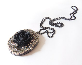 Flowering Black ---  Elegant Gothic Lolita Locket.Christmas gift.Mother's Day gift