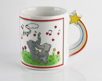 1970's Dancing Elephants Ceramic Mug, Rainbow and Star Musical Elephants, Coffee and Hot Chocolate Mug, Figural Mug, Retro Cartoon Mug