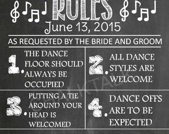 Dance Floor Rules - Chalkboard - Wedding - Printable