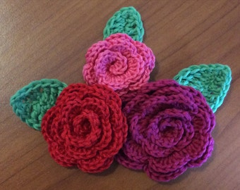 Crochet pattern roses and leaves in three different sizes, crochet pattern bundle