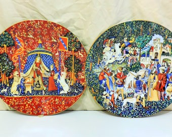 The Lady and the Unicorn & The Hunt of the Unicorn Vintage Collectible Porcelain Plates