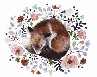 "8""x10"" Meadow Fox Print Watercolor Painting Nursery Wall Art Wall Decor"
