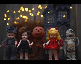 Set of 5 Halloween Dolls in Hand Made Costumes