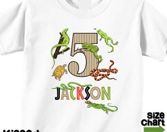 Personalized Amphibians Reptiles Nature Ourdoor Explore Birthday Party Shirt 1st First 2nd 3rd 4th 5th 6th Frogs Turtles Snakes Lizards Wood