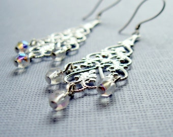 Sterling Silver Earrings with Silver Plated Filigree and Sparkling Dangles, Gift for Her Jewelry