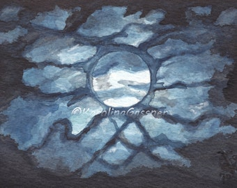 Moon, Clouds, Night Sky - Original Watercolour Painting, home decor, decoration, art