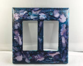 Double Switchplate, Painted Switchplate, Light Switch, Colorful Decor, Home Decor