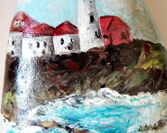 LIGHTHOUSE--Beautiful original one of a kind acrylic on rockpainting