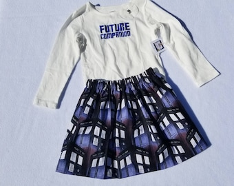 SALE - 2T Doctor Who Inspired Companion T-shirt and Skirt set