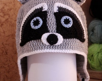 baby crochet hat with raccoon, raccoon hat, crochet raccoon, gray hat, crochet beanie, baby beanie, cute raccoon