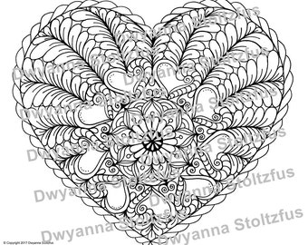 Items similar to Romantic Coloring Page for Grown Ups Heart