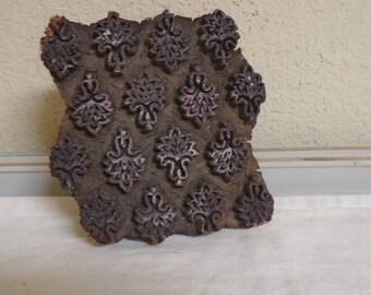 Vintage Hand Made Indian Batik Textile Floral Printing Block