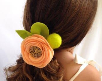 Girls Orange Zinnia Felt Headband