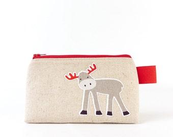 Small Makeup Bag for Purse Cute Linen Cosmetic Pouch Little Girls Zipper Animal Bag Gifts for Teen Friends