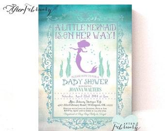 Mermaid baby shower invitation little mermaid baby shower mermaid baby shower invitation summer baby shower invites mermaid invitation teal and lavender printable or printed no 332baby filmwisefo