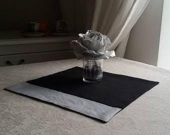Linen napkins, Black Silver, Valentine day gift, Set of 4