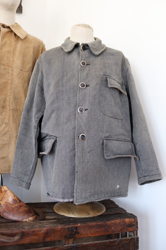 """Vintage 1960s 60s french thick grey pique corduroy hunting jacket 49"""" chest workwear gamekeeper"""