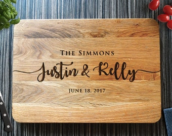 Personalized Cutting Board Wedding Gift Custom Bridal Shower Gift Anniversary Gift for Couple Engagment Wooden Chopping Board Foodie Gift