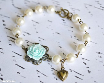 Bridesmaids Bracelet, Flower Girl Bracelet, Flower Girl Gift, Flower Bracelet, Shabby Chic Bracelet, Childrens Gifts, Wedding Favors, Gifts